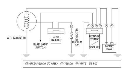 Схема системы зарядки скутерного аккумулятора