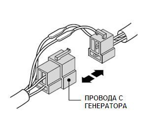 Разъем проводов, идущих от генератора скутера